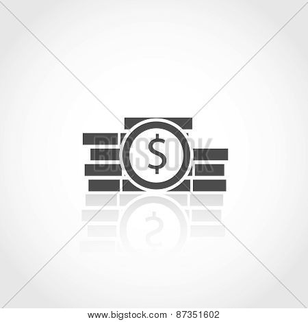 Dollar coins icon. Financial concept.