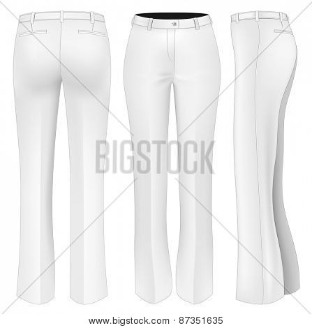 Formal white trousers for women (front, back and side views). Vector illustration.