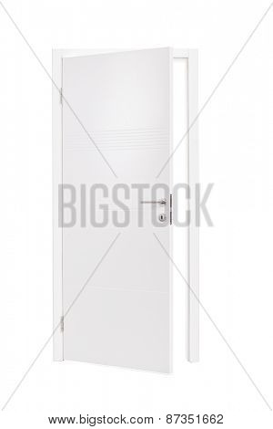 Vertical studio shot of an semi-opened white door isolated on white background