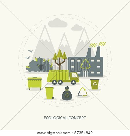 Ecologic concept in flat style