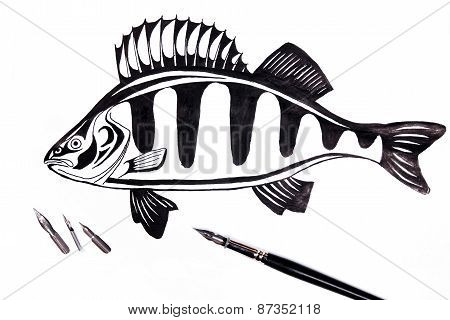 Fountain Pen With Ink Drawing Fish.