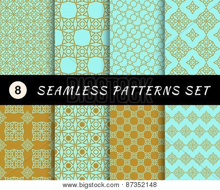 Seamless patterns set. Geometric textures