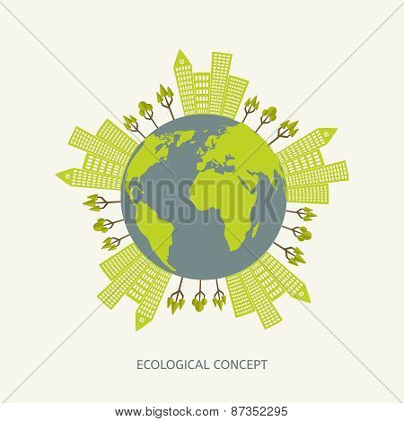 Ecologic environment concept in flat style