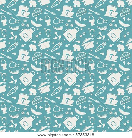 Vector seamless pattern with culinary icons.