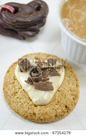 Oatmeal Cookie With Cream And Chocolate