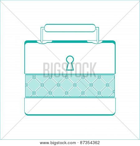 Casket For Jewelry, Jewelery Box A On White Background, Line Design