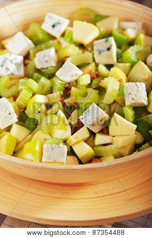 Salad With Celery, Apple And Blue Cheese