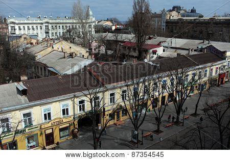ODESSA, UKRAINE - MARCH 25, 2015: Aerial view to Deribasovskaya street. The street is the main tourist attraction of the city with dozens of cafes, restaurants, and shops