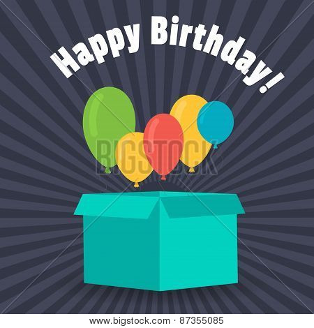 Greeting Card With A Birthday. Balloons Fly Out Of The Box For Gifts. Flat Design.