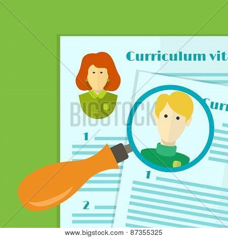Illustration Of Human Resources, The Choice Of Candidate For The Job, Curriculum Vitae Stack