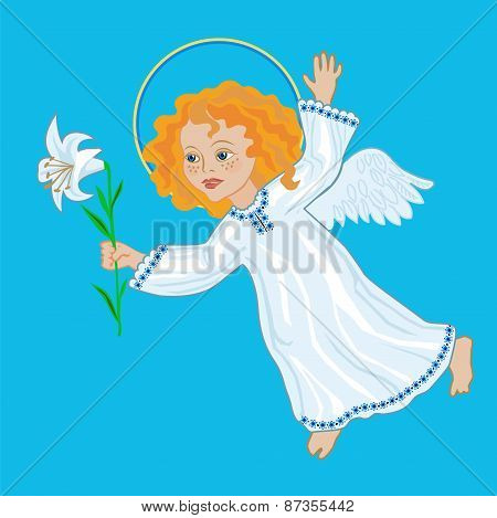 Angel With White Lily