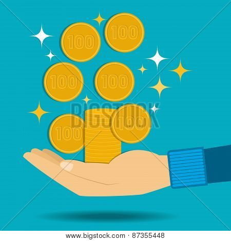 Vector illustration. Gold coins fall into the hand. Passive income.