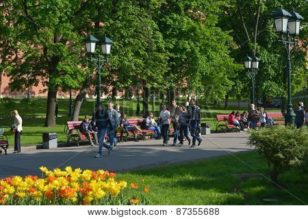 MOSCOW, RUSSIA - MAY 17, 2014: People walking in the Alexander Garden under the Kremlin walls. Founded in 1812, the garden is the favorite place to walk for tourists and locals