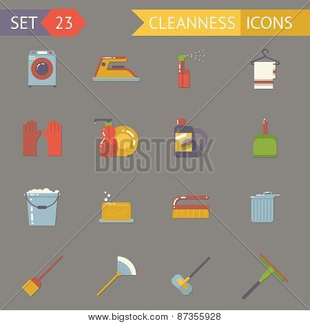 Retro Household Cleaning Symbols Accessories Icons Set Flat Design Template Vector Illustration