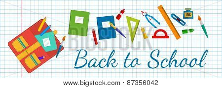 Horizontal banner Back to school. School bags and stationery.