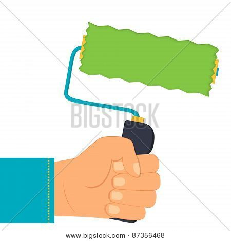 illustration of a hand holding a paint roller