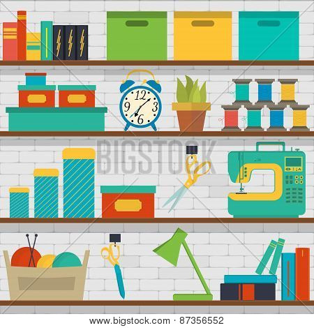 seamless pattern shelf with tools for sewing and knitting craft tools