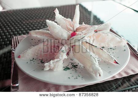 Deep fried eggplant in tempura coating, toned image