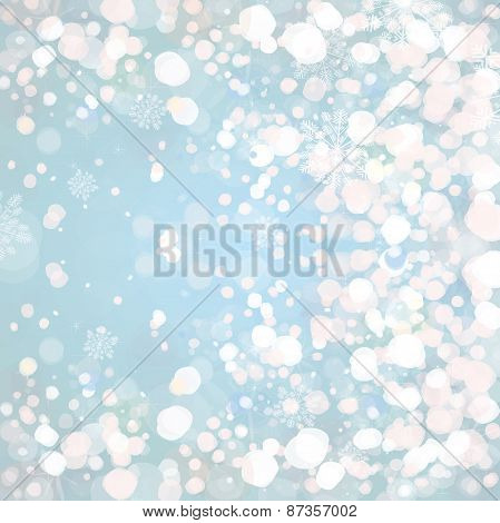 Vector blue snowfall background.