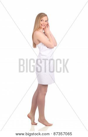 Beautiful Young Woman After Bath With Towel Isolated On White Background