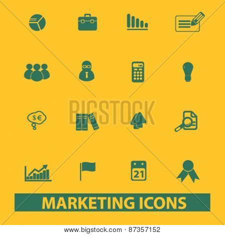 marketing, management, presentation isolated web icons, signs, illustrations concept design set, vector