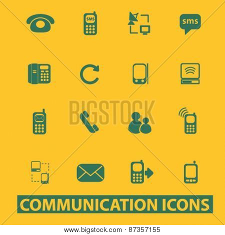 communication, phone, network, call service isolated web icons, signs, illustrations concept design set, vector