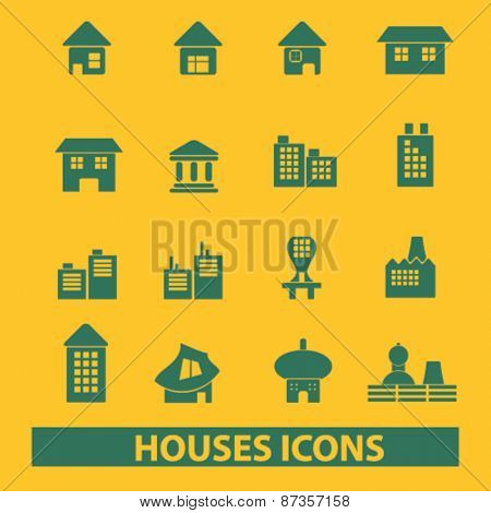houses, buildings, real estate isolated web icons, signs, illustrations concept design set, vector