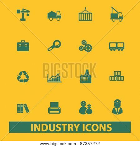 industry, factory isolated web icons, signs, illustrations concept design set, vector