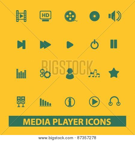 media player, audio isolated web icons, signs, illustrations concept design set, vector