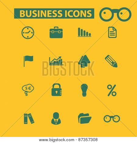 business, management, economics isolated web icons, signs, illustrations concept design set, vector