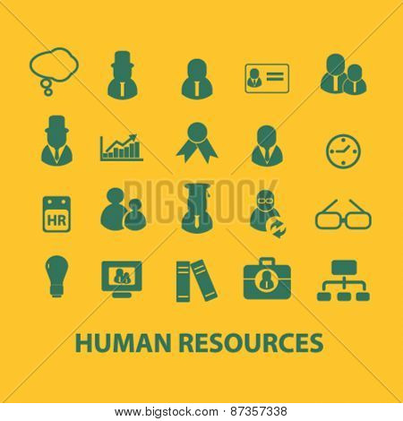 human resources, management, users, organization isolated web icons, signs, illustrations concept design set, vector