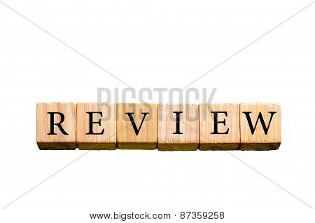 Word Review Isolated On White Background With Copy Space