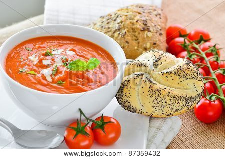 Fresh Tomato Soup And Crusty Bread Rolls.