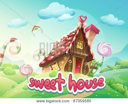 Illustration Gingerbread House With The Words Sweet House