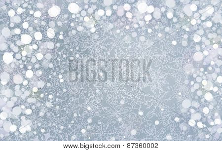 Vector silver  snowflakes background.