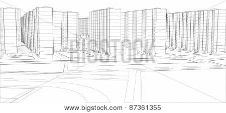 Wire-frame buildings. Vector