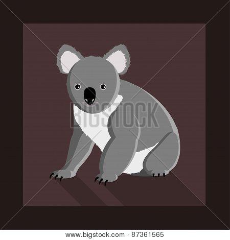 Koala Bear In Flat Style
