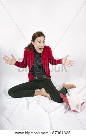 Red And Green Woman Surprised
