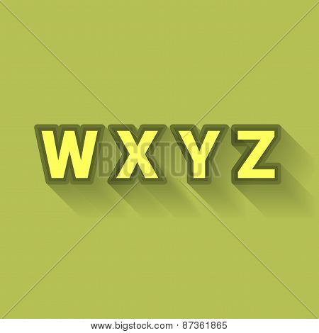 W X Y Z - Colorful Outlined Alphabet With Long Shadow