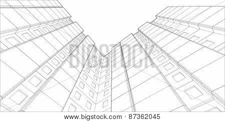 Wire-frame building. View from bottom up. Vector
