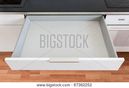 opened white empty drawer
