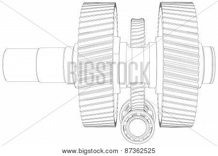 Wire-frame gears with shafts. Close-up. Vector
