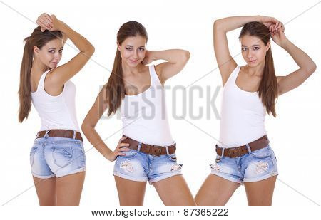 Collage, Beautiful cheerful teen girls in blue jean shorts, isolated on white background