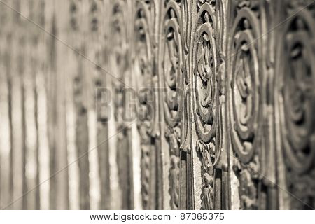 Ancient Forged Fence Of Beige Color