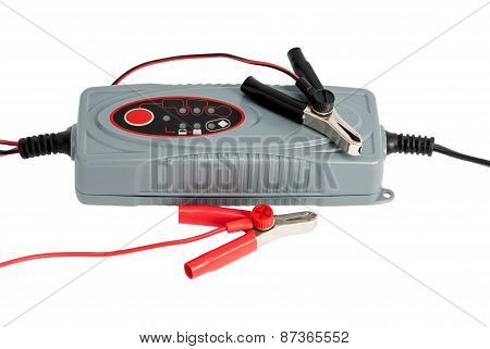 Modern Electronic Charger For Car Battery With Clamps And Jumper Cables