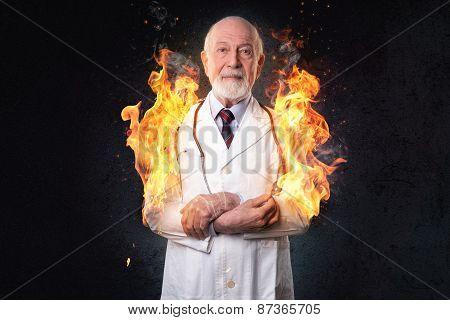 male doctor on fire
