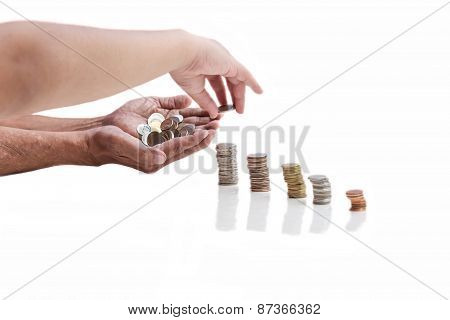 Hand With Coin On A White Background