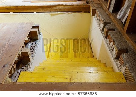 Wooden Formwork Stairways On A Building Site