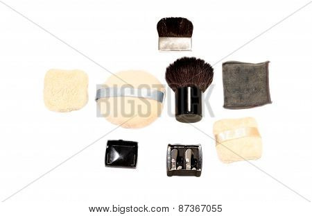 Set Of Makeup Brushes And Powder Puff