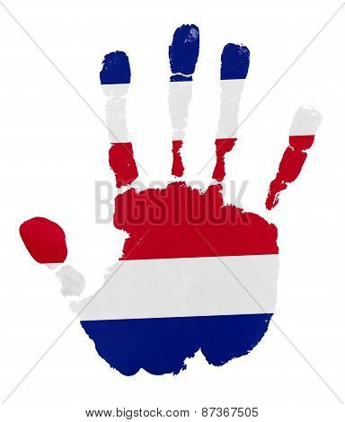 Handprints With Costa Rica Flag.isolated On White Background.